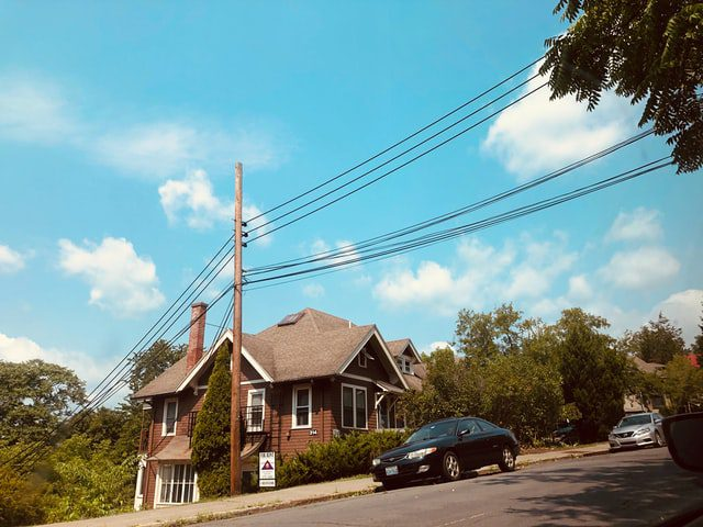 Wires Connect From Utility Pole To Someone'S House